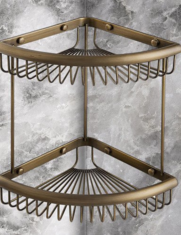 WYMBS Antique Elegant Double Shelves Brass Material Bathroom Shelf