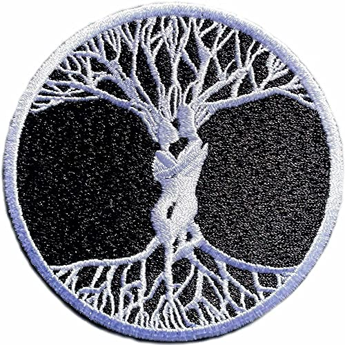 Parche Árbol de la Vida 100% Bordado para Ropa Termoadhesivo Grande. Parches moteros bordados de Rock - Parches Chaqueta - Parche Celta - 80 x 80 mm