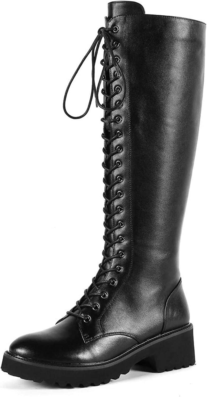 Nine Seven Genuine Leather Woman's Round Toe Chunky Heel Handmade Mid Calf Boot Fashion Comfortable