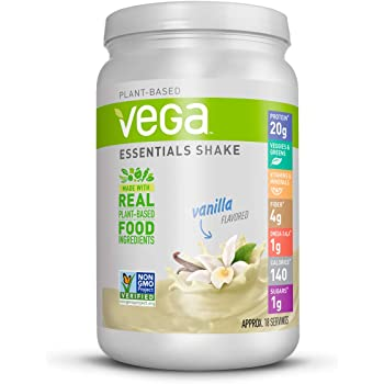 Vega Essentials Protein Powder, Vanilla, Plant Based Protein Powder Plus Vitamins, Minerals and Antioxidants - Vegan, Vegetarian, Keto-Friendly, Gluten Free, Dairy Free (18 Servings, 1lb 5.9oz)