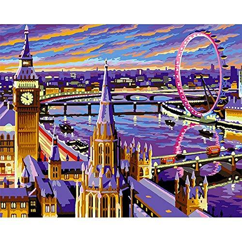 London DIY Kits Acrylfarbe nach Zahlen auf Leinwand mit ?lbild digitale Zeichnung Malerei F?rbung nach Zahlen Dekor Art 40x50 cm