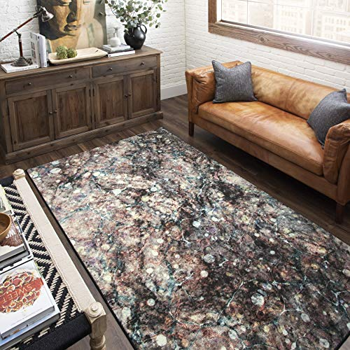 Mohawk Home Prismatic Layered Marble Graphite Abstract Precision Printed Area Rug, 5'x8', Gray