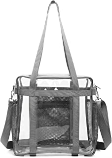 Heavy-Duty Clear Bag Stadium Approved, NFL Clear Stadium Tote Crossbody Bag 12X12X6 with Side Pockets Shoulder Strap