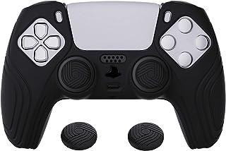eXtremeRate PlayVital Samurai Edition svart halkfri kontroll silikonskal för PS5, ergonomiskt mjukt gummi skyddsfodral för...