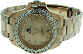 Full Stainless Steel Watch-iced Out Bezel- Genuine CZ-Water Resistant with Box #15
