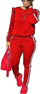Akmipoem Women`s 2 Piece Outfits Ruffle Sleeve Sweatshirt and Pants Sweatsuits Set Tracksuits