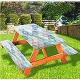 LEWIS FRANKLIN - Cortina de ducha abstracta de lujo para picnic, mantel ajustable con bordes elásticos, 28 x 72 pulgadas, juego de 3 piezas para mesa plegable