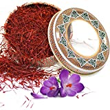 Zand Persian Saffron Threads – Premium Grade 1 Saffron Spice for Cooking Basmati Rice, Paella, Risotto and More – in Decorative Airtight Tin with Window Lid (2 Grams)