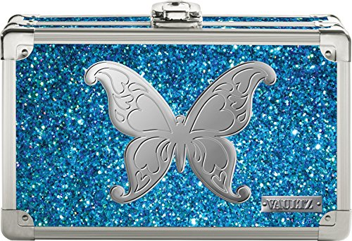 Vaultz Locking Locking Supplies & Pencil Box with Key Lock, 5'x 2.5'x 8.5', Blue Bling with Butterfly (VZ03604)
