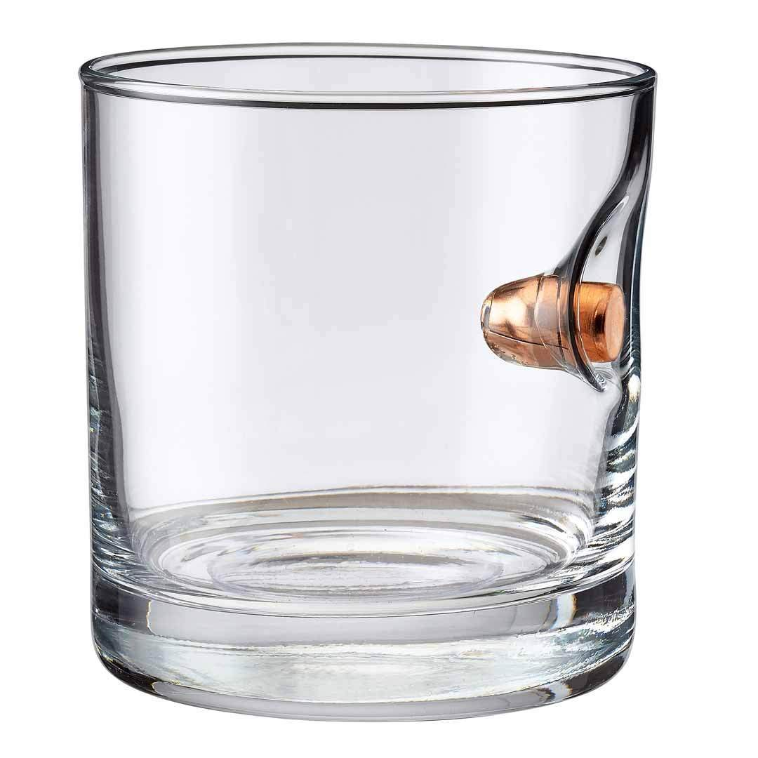 Made in the USA 0.45ACP set of 2 BenShotBulletproof- Rocks Glass with Real Bullet