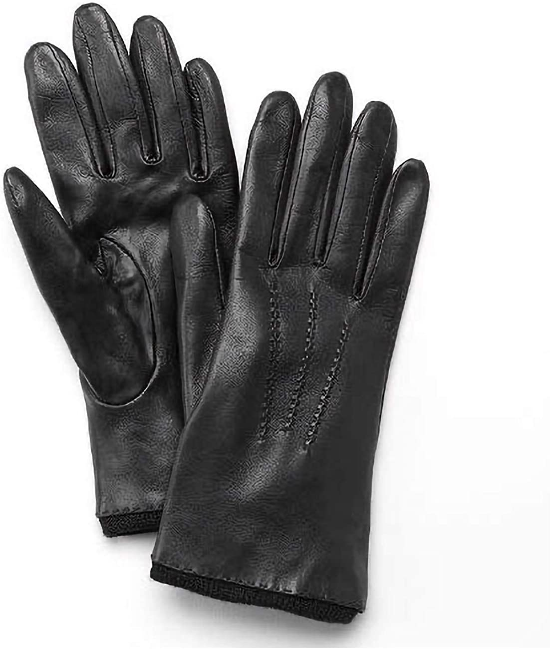 Grandoe Black Stitched Leather Texting Gloves for Women - Size S
