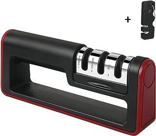 flintronic Afilador de Cuchillos, Afilador de Cuchillos Manual de 3 Etapas, Base de Plástico Antideslizante para Kinfe de Cocina, para Cuchillo Santoku, Tijeras (Incluye 1 Pequeño Afilador)