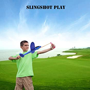 2 Pcs Aerobatic Slingshot Plane 2 Flight Mode Glider Airplane 2 Ways to Play Outdoor Flying Toy for Kids as Gift,by M...