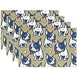Mantel individual 4 piezas Bulldog Animal Huesos de perro Mesa lavable Manteles individuales Poliéster de 12x18 pulgadas Resistente al calor