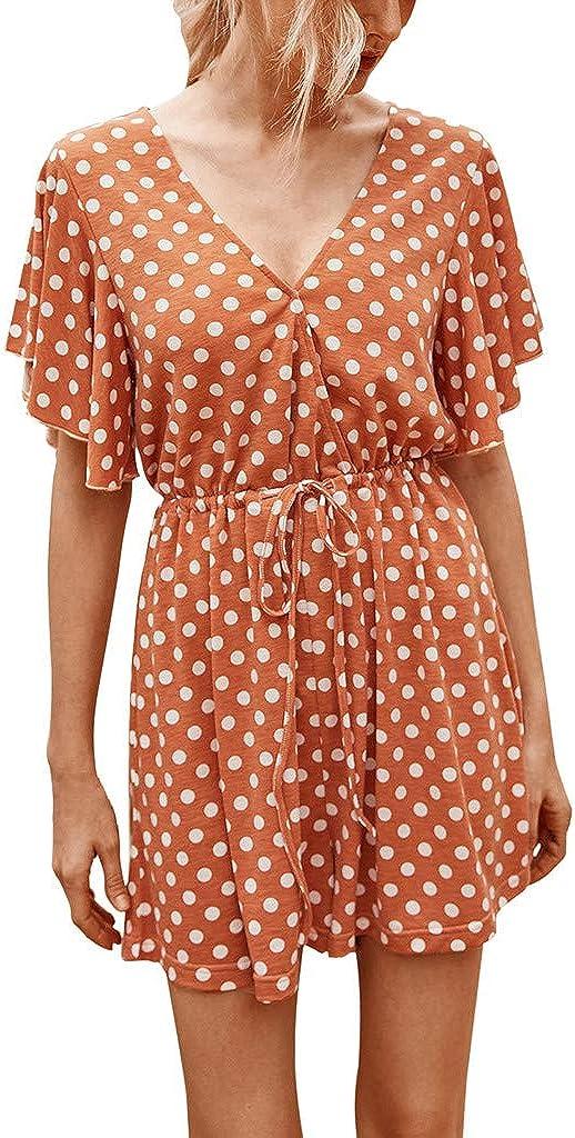 Women Dot Print Short Overalls V-Neck Short Sleeve Playsuit Casual Jumpsuit