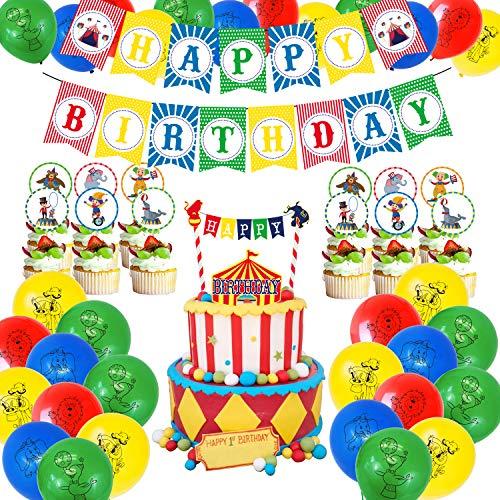 MIFIRE Zirkus Geburtstag Party Dekoration, Karneval Thema Deko mit Clown Luftballons Geburtstag Banner Tischdecke Kuchen Party Zubehör für Junge Geburtstag, Baby Shower, Festival, Weihnachten