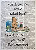A3 Winnie The Pooh Quote Print Vintage Dictionary Page Picture Wall Art Spell Love