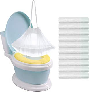 Tebery 100 Pack Portable Potty Chair Liners with Drawstring Potty Bags Potty Liners Disposable for Baby Toilet Potty Training Seat