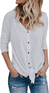 Waffle Knit Shirt Women,Loose Knit Tunic Blouse Tie Knot Henley Tops Bat Wing Plain Shirts