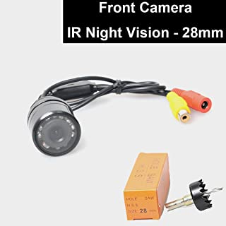 E-KYLIN Car Auto Front View Camera IR Night Vision 28mm Hole Drilling Forward Non-Mirrorred Image Without Grid Lines Normal Unreversed Blind Spot Display Flush Mount