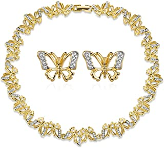 Italina Jewelry Necklace Set For Women Gold Plated for Girls Girlfriend(Earrings + 42cm Necklace)