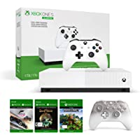 Xbox One S 1TB All-Digital Edition Gaming Console (White) + Xbox Wireless Controller (Phantom White Special Edition)