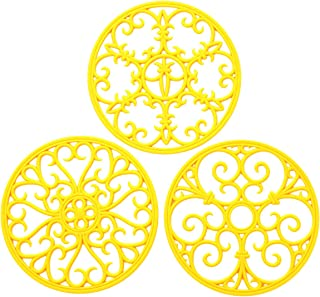 Silicone Trivet Mat - Non-Slip & Heat Resistant Kitchen Hot Pads for Countertops & Table - Kitchen Trivets for Hot Dishes & Cookware - Hot Pot Holder for Pots & Pans - Yellow,Set of 3