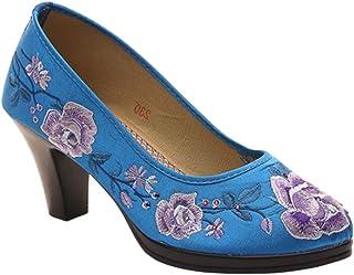 5a0d37f3fcabf4 Yudesun Femmes Chaussures De Broderie - Escarpins Cheongsam Talon épais  Bout Rond Vintage Danse Robe Confortable