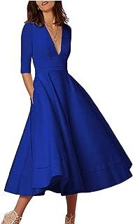 OMZIN Damen Cocktailkleid Elegantes Vintage Kleid V Ausschnitt 50er Retro Partykleid