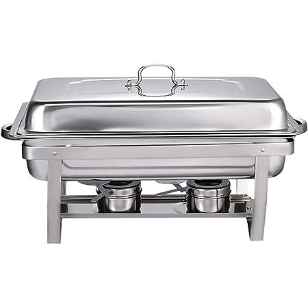 Chauffe-Plats Réchauds en Acier Inoxydable Chafing Dish, Buffet Pleine Grandeur avec Bac à Eau, Bac à Nourriture, Support de Carburant et Couvercle pour Buffet, Mariages, Fêtes(1Pcs-3/PLATEAU)