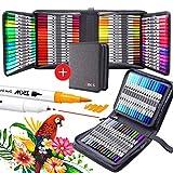ZSCM - Rotuladores de doble pincel para acuarela, 100 colores, rotuladores para caligrafía, rotuladores para journaling Appunto tomar material escolar