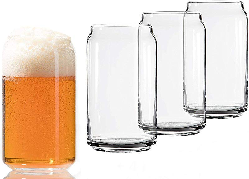 Libbey Can Shaped Beer Glass 16 Oz 4 PACK W Pourer