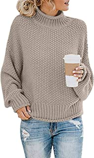 Turtleneck Pullover for Womens, Chunky Heap Collar Solid Long Sleeve Knitted Sweater Jumper Tops