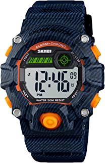 Kid's Watches Digital 50m Waterproof Wristwatch Alarm Stopwatch Hourly Chime for Boys