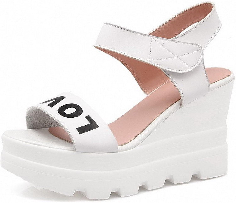 WeenFashion Women's Open Toe High Heels Assorted color Hook And Loop Sandals