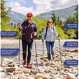 "Cascade Mountain Tech Trekking Poles - Aluminum Hiking Walking Sticks with Adjustable Locks Expandable to 54"" (Set of 2)"