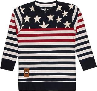 4df207e0c8 BodyGlove Boy Kids Casual Round Neck Striped T-Shirt, Full Sleeve, Cotton