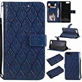 pinlu Funda para Xiaomi Mi6 Smartphone Plegado Flip Billetera Carcasa Retro PU Leather Cover Función de Soporte con Ranura Case Rayas de Ratán Azul Oscuro