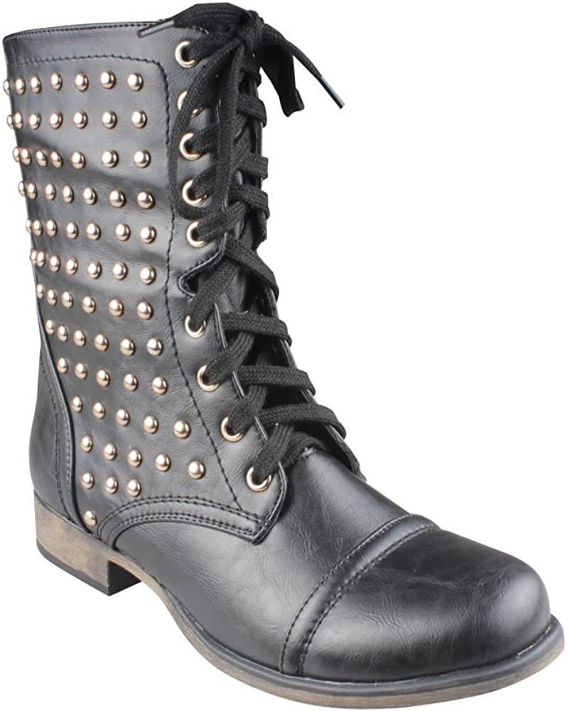 REFRESH DAVINA-01 Women's Lace up & Stud Accent Mid-calf Combat Boots, Color:BLACK, Size:6.5