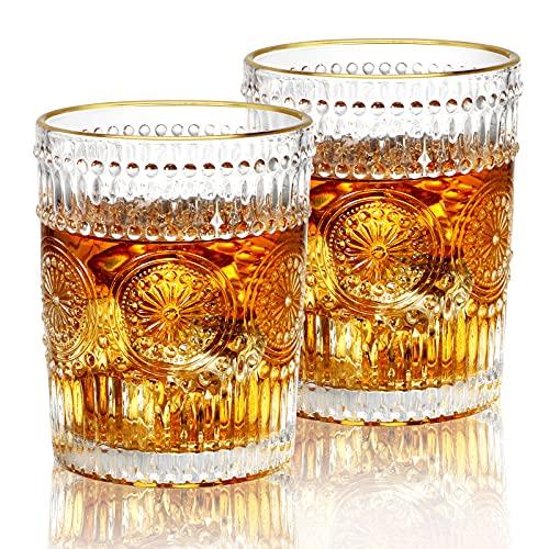 KAMEUN Juego de 2 Vasos de Whisky,Vasos Transparentes de Diseño Vintage,Vasos de Cóctel en Relieve