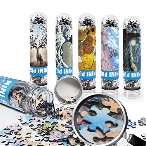 Mini-Reagenzglas-Puzzle Weltberühmte Gemälde,Tragbares Puzzle für Erwachsene 5er-Pack (150 Stück) Taschenpuzzle Lernspielzeug Kinderspaß-Puzzlespiel Jungen Mädchen Freizeitreisen Mini-Spielzeug
