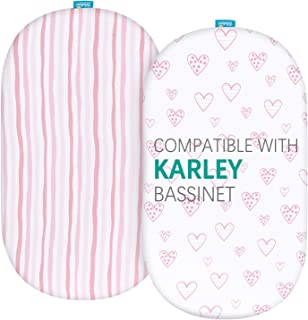 Biloban Bassinet Fitted Sheets Compatible with Dream On Me Karley Bassinet, 2 Pack, 100% Jersey Knit Cotton Fitted Sheets,...