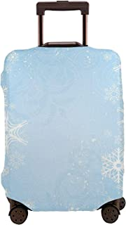 Travel Luggage Cover,Abstract Christmas Snowflake On The Soft Colored Suitcase Protector