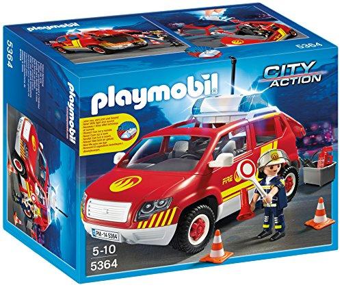 Playmobil- City Action-Veicolo dei Vigili del Fuoco con Luce e Suono Giocattolo con Machina e Figurine, Multicolore, 5364