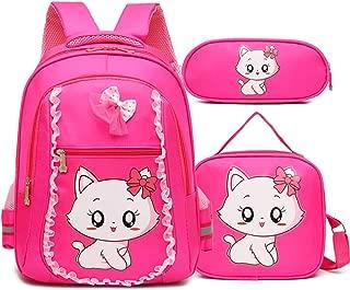 Cute Cat Printing Lace Backpack Lightweight Princess School Bag Kids Bookbag Handbag Pen Bag Set for Primary Girls (One_Size, Rose3(Backpack Handbag Pen Bag))