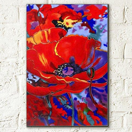 Awakening Poppy di Simon Bull decorativo in ceramica piastrella immagine 8x 12fiori Home Decor Kitchen Wall Plaque Gift floreale