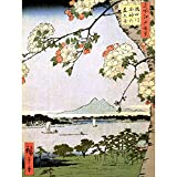 Wee Blue Coo Painting Japanese Woodblock Cherry Blossom