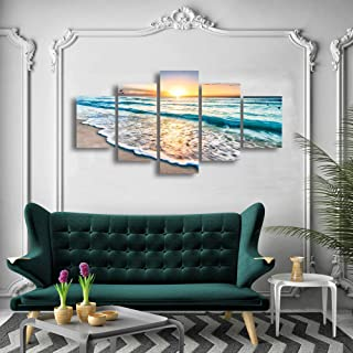 Cao Gen Decor Art-S58839 5 panels Blue Beach Sunrise White Wave Pictures Painting on Canvas Wall Art Modern Stretched and Framed Seascape Giclee Canvas Prints for Home Office Decorations Large Artwork