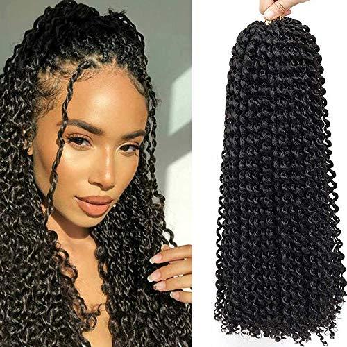 Pelo de ganchillo 6 paquetes de 45,72 cm bohemio pre bucle, pelo sintético ondulado natural, trenzas de ganchillo para mujeres negras (45,72 cm 1B)