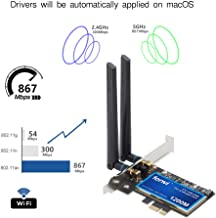 for PC MacOS WiFi BT pci wifi card 802.11a/g/n/ac WLAN + BT 4.0 PCI-E PCI Network Adapter mac-compatible Wi-Fi AirDrop Handoff Instant Hotspot macOS MIMO 2x2 Mac OS X natively supported BCM4360 AC1200
